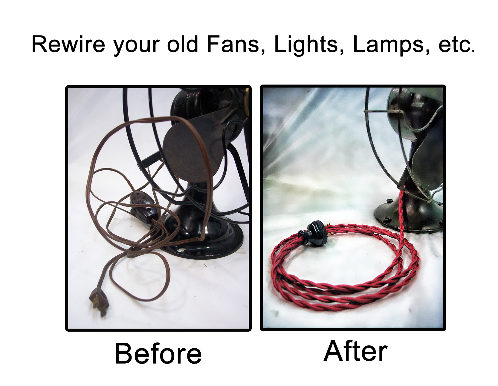 Cloth-Covered Rewire Kits for Lamp & Fan Restorations